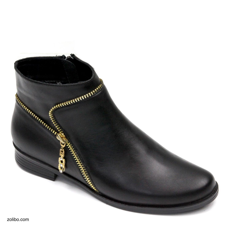 0723ff6c884 Bottine femme en cuir noir   Zolibo  Chaussures de Marque pas cher ...